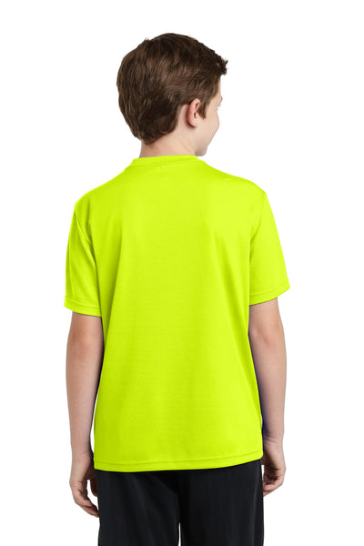 Sport-Tek YST340 Youth RacerMesh Moisture Wicking Short Sleeve Crewneck T-Shirt Neon Yellow Back