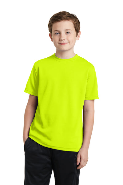 Sport-Tek YST340 Youth RacerMesh Moisture Wicking Short Sleeve Crewneck T-Shirt Neon Yellow Front