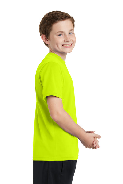Sport-Tek YST340 Youth RacerMesh Moisture Wicking Short Sleeve Crewneck T-Shirt Neon Yellow Side