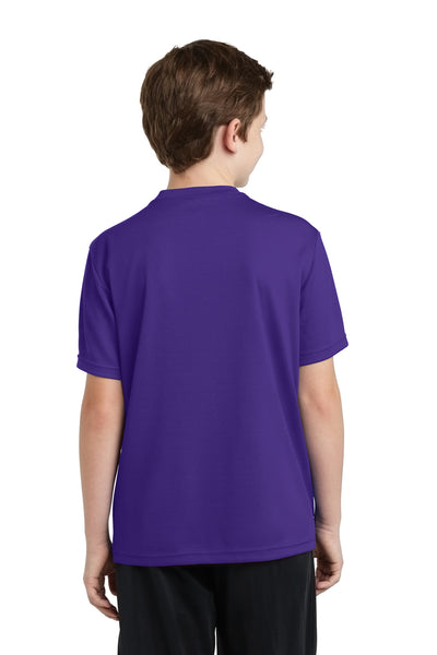 Sport-Tek YST340 Youth RacerMesh Moisture Wicking Short Sleeve Crewneck T-Shirt Purple Back