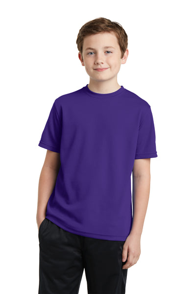 Sport-Tek YST340 Youth RacerMesh Moisture Wicking Short Sleeve Crewneck T-Shirt Purple Front
