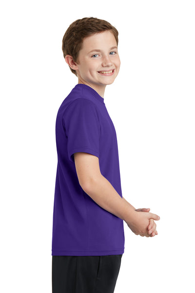 Sport-Tek YST340 Youth RacerMesh Moisture Wicking Short Sleeve Crewneck T-Shirt Purple Side