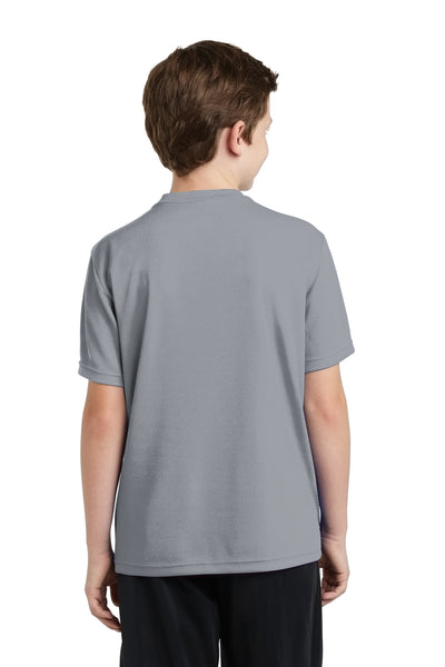 Sport-Tek YST340 Youth RacerMesh Moisture Wicking Short Sleeve Crewneck T-Shirt Silver Grey Back