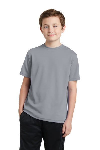 Sport-Tek YST340 Youth RacerMesh Moisture Wicking Short Sleeve Crewneck T-Shirt Silver Grey Front