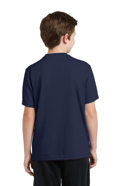 Sport-Tek YST340 Youth RacerMesh Moisture Wicking Short Sleeve Crewneck T-Shirt Navy Blue Back