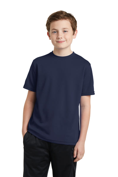 Sport-Tek YST340 Youth RacerMesh Moisture Wicking Short Sleeve Crewneck T-Shirt Navy Blue Front