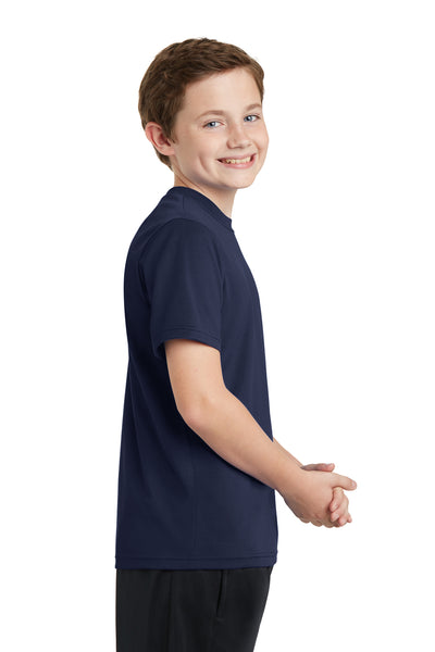 Sport-Tek YST340 Youth RacerMesh Moisture Wicking Short Sleeve Crewneck T-Shirt Navy Blue Side