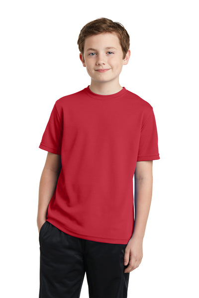 Sport-Tek YST340 Youth RacerMesh Moisture Wicking Short Sleeve Crewneck T-Shirt Red Front
