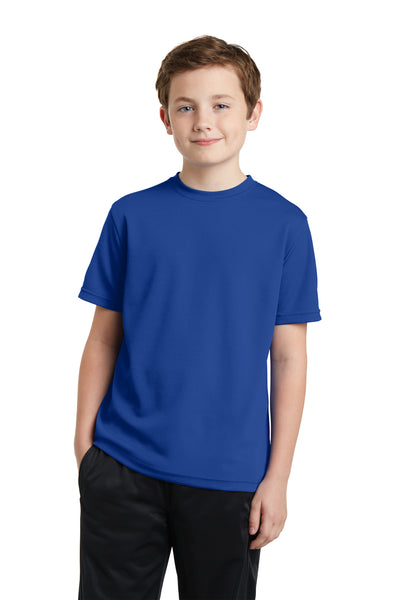 Sport-Tek YST340 Youth RacerMesh Moisture Wicking Short Sleeve Crewneck T-Shirt Royal Blue Front