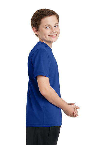 Sport-Tek YST340 Youth RacerMesh Moisture Wicking Short Sleeve Crewneck T-Shirt Royal Blue Side