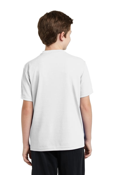 Sport-Tek YST340 Youth RacerMesh Moisture Wicking Short Sleeve Crewneck T-Shirt White Back