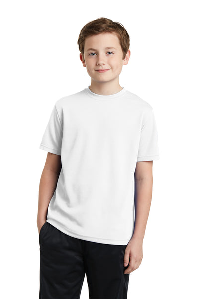 Sport-Tek YST340 Youth RacerMesh Moisture Wicking Short Sleeve Crewneck T-Shirt White Front