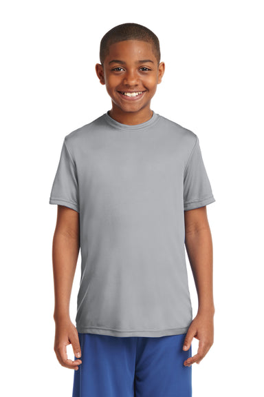 Sport-Tek YST350 Youth Competitor Moisture Wicking Short Sleeve Crewneck T-Shirt Silver Grey Front