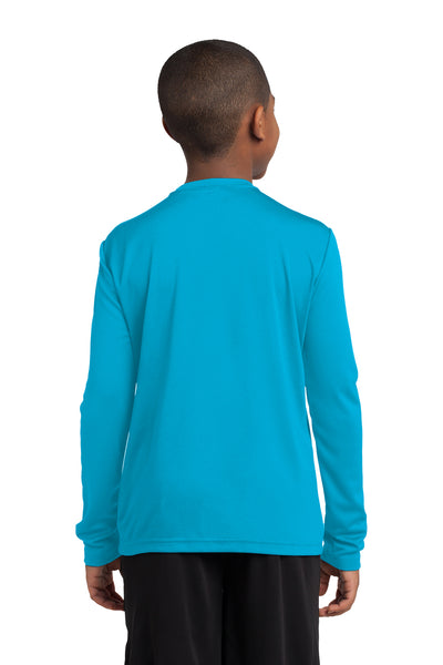 Sport-Tek YST350LS Youth Competitor Moisture Wicking Long Sleeve Crewneck T-Shirt Atomic Blue Back