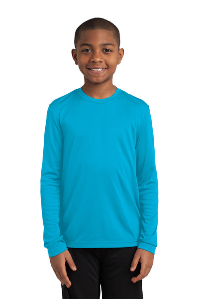 Sport-Tek YST350LS Youth Competitor Moisture Wicking Long Sleeve Crewneck T-Shirt Atomic Blue Front