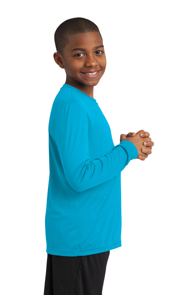 Sport-Tek YST350LS Youth Competitor Moisture Wicking Long Sleeve Crewneck T-Shirt Atomic Blue Side