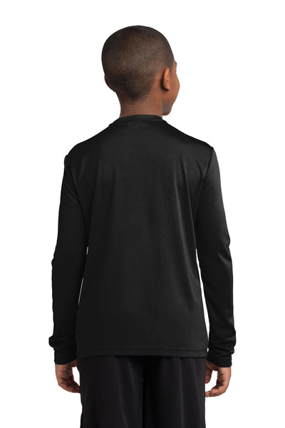 Sport-Tek YST350LS Youth Competitor Moisture Wicking Long Sleeve Crewneck T-Shirt Black Back