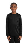 Sport-Tek YST350LS Youth Competitor Moisture Wicking Long Sleeve Crewneck T-Shirt Black Front
