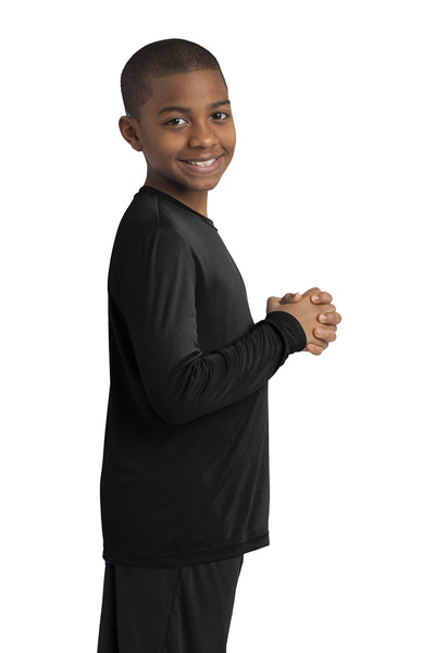 Sport-Tek YST350LS Youth Competitor Moisture Wicking Long Sleeve Crewneck T-Shirt Black Side