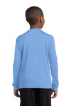 Sport-Tek YST350LS Youth Competitor Moisture Wicking Long Sleeve Crewneck T-Shirt Carolina Blue Back