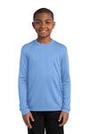 Sport-Tek YST350LS Youth Competitor Moisture Wicking Long Sleeve Crewneck T-Shirt Carolina Blue Front