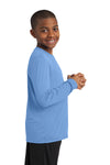 Sport-Tek YST350LS Youth Competitor Moisture Wicking Long Sleeve Crewneck T-Shirt Carolina Blue Side