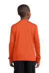 Sport-Tek YST350LS Youth Competitor Moisture Wicking Long Sleeve Crewneck T-Shirt Orange Back