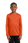 Sport-Tek YST350LS Youth Competitor Moisture Wicking Long Sleeve Crewneck T-Shirt Orange Front