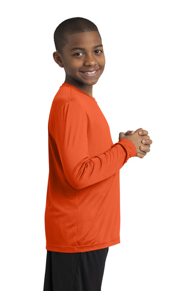 Sport-Tek YST350LS Youth Competitor Moisture Wicking Long Sleeve Crewneck T-Shirt Orange Side