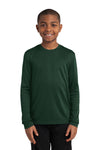 Sport-Tek YST350LS Youth Competitor Moisture Wicking Long Sleeve Crewneck T-Shirt Forest Green Front