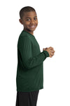 Sport-Tek YST350LS Youth Competitor Moisture Wicking Long Sleeve Crewneck T-Shirt Forest Green Side