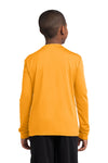 Sport-Tek YST350LS Youth Competitor Moisture Wicking Long Sleeve Crewneck T-Shirt Gold Back