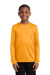 Sport-Tek YST350LS Youth Competitor Moisture Wicking Long Sleeve Crewneck T-Shirt Gold Front