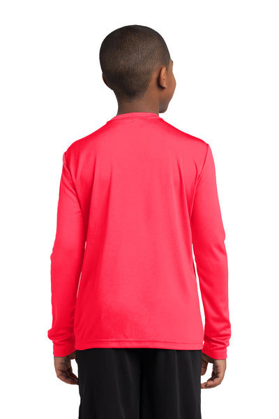 Sport-Tek YST350LS Youth Competitor Moisture Wicking Long Sleeve Crewneck T-Shirt Hot Coral Pink Back