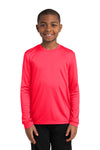 Sport-Tek YST350LS Youth Competitor Moisture Wicking Long Sleeve Crewneck T-Shirt Hot Coral Pink Front