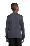 Sport-Tek YST350LS Youth Competitor Moisture Wicking Long Sleeve Crewneck T-Shirt Iron Grey Back