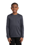 Sport-Tek YST350LS Youth Competitor Moisture Wicking Long Sleeve Crewneck T-Shirt Iron Grey Front