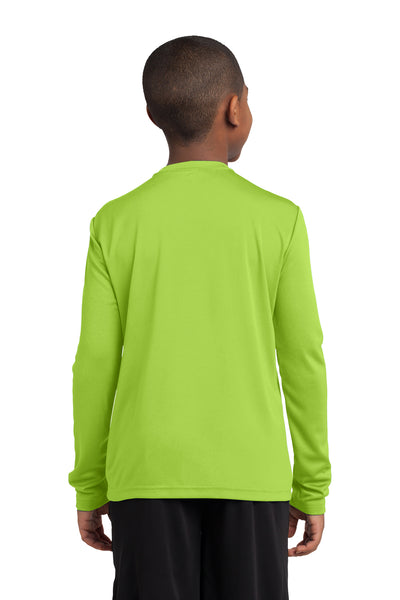 Sport-Tek YST350LS Youth Competitor Moisture Wicking Long Sleeve Crewneck T-Shirt Lime Green Back