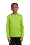 Sport-Tek YST350LS Youth Competitor Moisture Wicking Long Sleeve Crewneck T-Shirt Lime Green Front