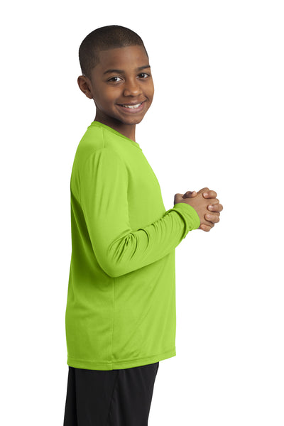Sport-Tek YST350LS Youth Competitor Moisture Wicking Long Sleeve Crewneck T-Shirt Lime Green Side