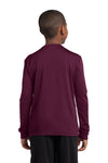 Sport-Tek YST350LS Youth Competitor Moisture Wicking Long Sleeve Crewneck T-Shirt Maroon Back