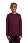 Sport-Tek YST350LS Youth Competitor Moisture Wicking Long Sleeve Crewneck T-Shirt Maroon Front