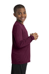 Sport-Tek YST350LS Youth Competitor Moisture Wicking Long Sleeve Crewneck T-Shirt Maroon Side