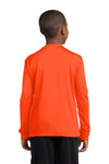 Sport-Tek YST350LS Youth Competitor Moisture Wicking Long Sleeve Crewneck T-Shirt Neon Orange Back