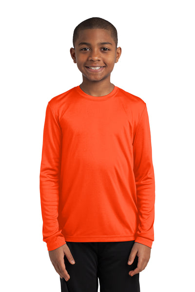 Sport-Tek YST350LS Youth Competitor Moisture Wicking Long Sleeve Crewneck T-Shirt Neon Orange Front