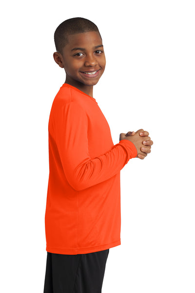 Sport-Tek YST350LS Youth Competitor Moisture Wicking Long Sleeve Crewneck T-Shirt Neon Orange Side