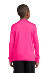 Sport-Tek YST350LS Youth Competitor Moisture Wicking Long Sleeve Crewneck T-Shirt Neon Pink Back