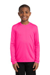 Sport-Tek YST350LS Youth Competitor Moisture Wicking Long Sleeve Crewneck T-Shirt Neon Pink Front