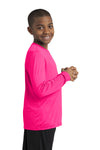 Sport-Tek YST350LS Youth Competitor Moisture Wicking Long Sleeve Crewneck T-Shirt Neon Pink Side