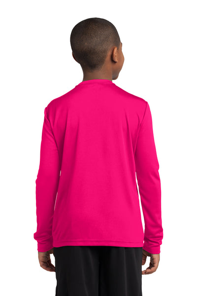 Sport-Tek YST350LS Youth Competitor Moisture Wicking Long Sleeve Crewneck T-Shirt Fuchsia Pink Back